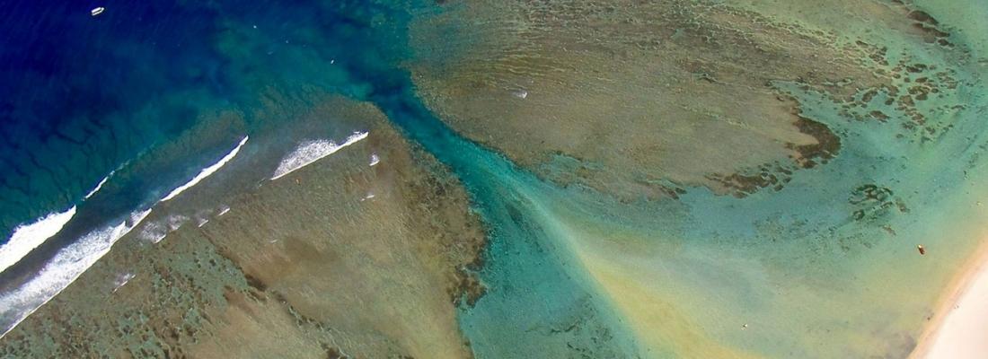 La passe de l'Hermitage vue du ciel école ulm Fly Réunion